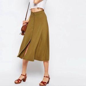 Asos Green Button Midi Skirt